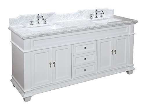 Elizabeth Bath (Kitchen Bath Collection KBC5972WTCARR Elizabeth Bathroom Vanity with Marble Countertop, Cabinet with Soft Close Function and Undermount Ceramic Sink, Carrara/White, 72