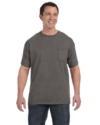 Hanes mens 6.1 oz. Tagless ComfortSoft Pocket T-Shirt(H5590)-SMOKE GRAY-M