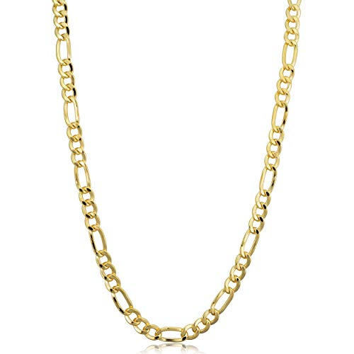 Kooljewelry 14k Yellow Gold Filled Solid Figaro Link Chain Necklace (4.2 mm, 18 inch) ()