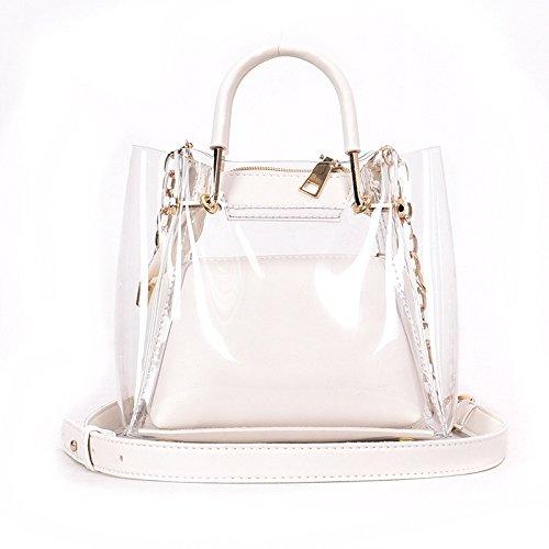 2018 Mujeres De La Moda Bolsas De Gelatina Transparente Lingge Cadena Bolso De Hombro Bolsa De Noche Clásica Color Caramelo Translúcido De PVC Bolsa De Hombro Impermeable White