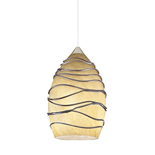 Dolce Glass Pendant (Juno Lighting Group P38MF-BRZ-CDZ Dolce Flat MonoPoint 1-Light Mini-Pendant with Chocolate Drizzle Art Glass Shade, Vintage Bronze Finish)