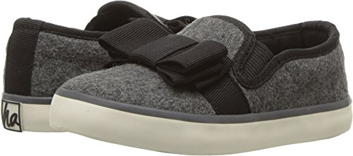 Hanna Andersson UNA Girl's Bow Slip-On Skate Shoe, Heather Grey, 1 M US Little Kid