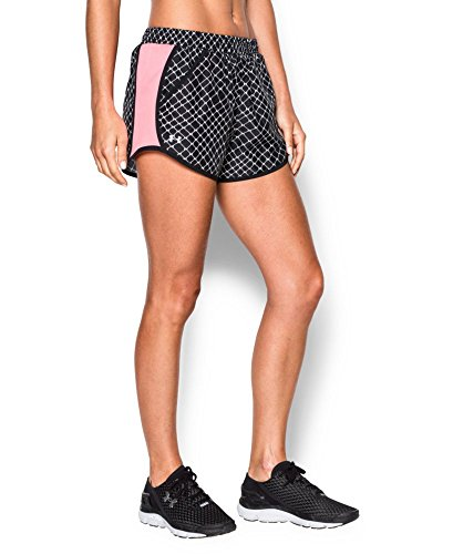 Under Armour Women's Fly-By Printed Run Short, Black/Black, X-Large