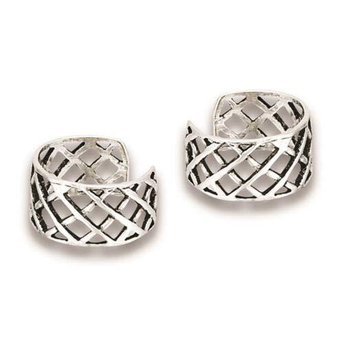 (Criss Cross Lattice Weave Cutout .925 Sterling Silver Simple Ear Cuff Earrings)