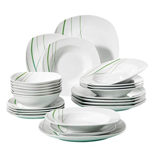 VEWEET 24-Piece Porcelain Dinnerware Set Ivory White Green Stripe Patterns Plate Sets, Service for 6 Dinner Plate, Salad Plate, Soup Plate (AVIVA Series)