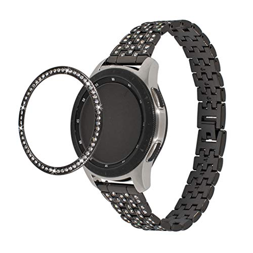 - for Samsung Galaxy Watch 42MM, 2Pcs Diamond-Encrusted Stainless Steel Bezel Ring Adhesive Cover Anti Scratch Metal Styling (Black)