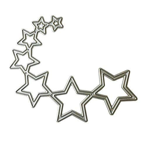 Whitelotous Metal Cutting Dies DIY Stars Stencil Scrapbooking Album Embossing Paper Craft Template(Curved Stars)