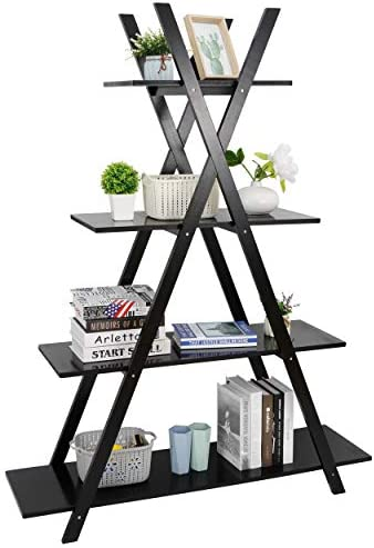 4 Tier Bookshelf Storage Shelves, A Frame Ladder...