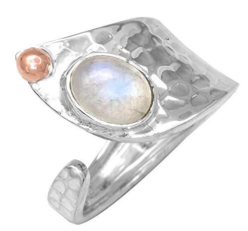 YoTreasure Rainbow Moonstone 925 Sterling Silver Brass Rings Silver Jewelry