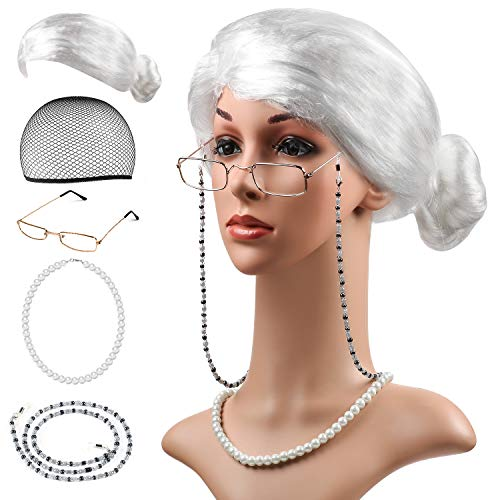 Beelittle Old Lady Costume Cosplay Set for Kids Girls Women - Grandma Granny Wig, Wig Cap,Madea Granny Glasses,Pearl Necklace]()