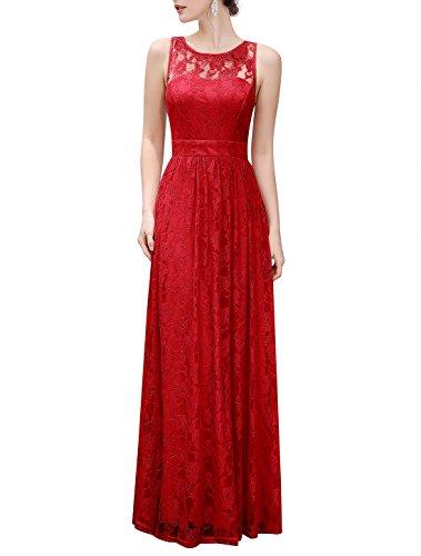 Wedtrend Women's Long Floral Lace Dress Sleeveless Semi-Formal Dress WTL10007RedXXL