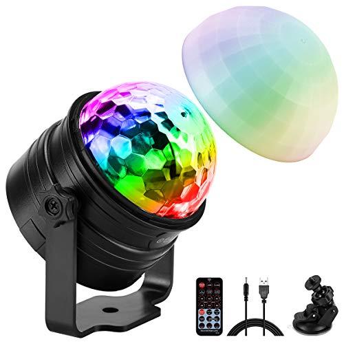 ELZO Disco Lights met sfeerlichtmodus, geluidsgestuurde LED-discobalverlichting met 4M USB-kabel en zuignap…