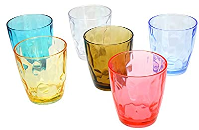Lawei 14 oz Unbreakable Premium Drinking Glasses - Set of 6 - Assorted Colored Plastic Cups Water Glasses Juice Tumblers