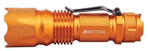 J5 Tactical J5 V1 Pro Hunter Orange Tactical Flashlight - The Original 300 lm Ultra Bright, LED Mini 3 Mode Flashlight, Hunter Orange
