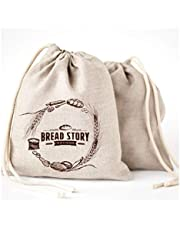 Linen Bread Bags - 2-Pack Large 11 x15 in (30 cm x 40 cm) Ideal for Homemade Bread, Reusable Food Storage, Housewarming, Wedding Gift, Storage for Artisan Bread - Bakery & Baguette Bag