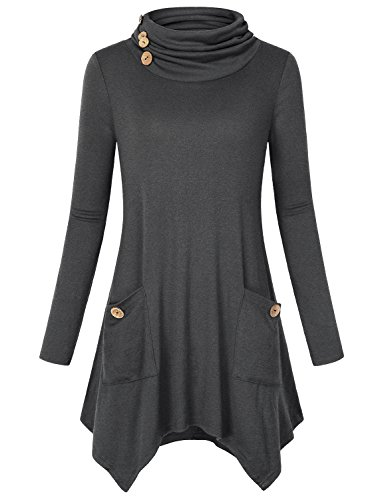Hibelle Rouched Tunic, Female Long Sleeve Trendy Fashion Casual Wear Knit Pullover Flared Swing Cute Casual Shirts Tops Gray XL (Only T-shirt Pocket)