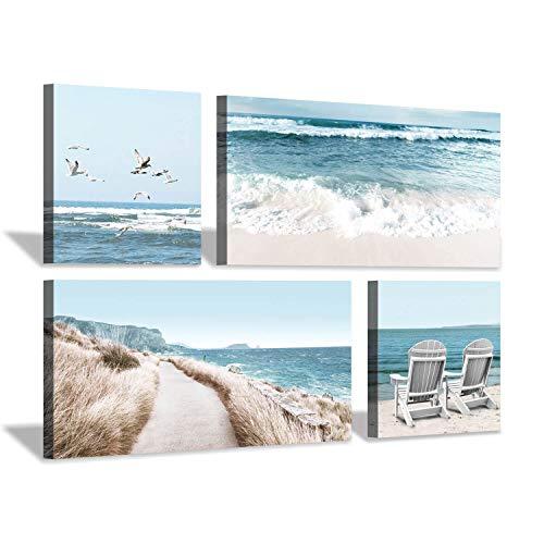 Beach Scene Canvas Wall Art: Coastal Chairs & Seagulls Picture Painting Print for Living Room (32'' x 16'' x 2 Panels + 16'' x 16'' x 2 Panels) (Bird Art Shore Wall)