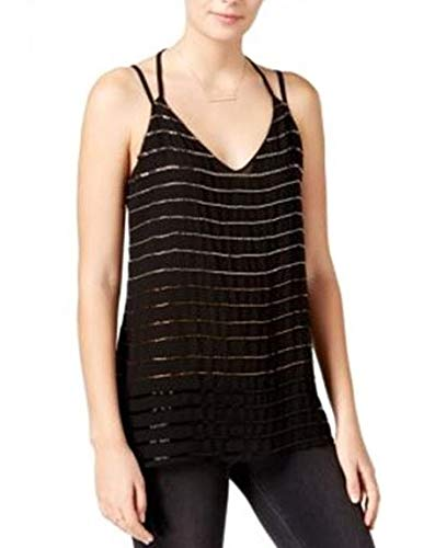 Bar III Women's Crepe Beaded Tank Top, Black (X-Small)