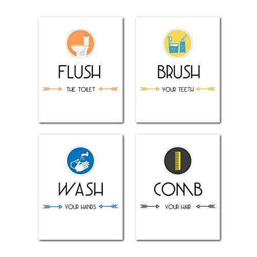 Bathroom Decor Wall Art Prints - Funny Canvas Painting Sign Words Poster Teens Kids Washroom Set of 4 Modern Room Home Decoration Quotes and Sayings Flush Wash Comb Brush Picture Artwork Gift Unframed