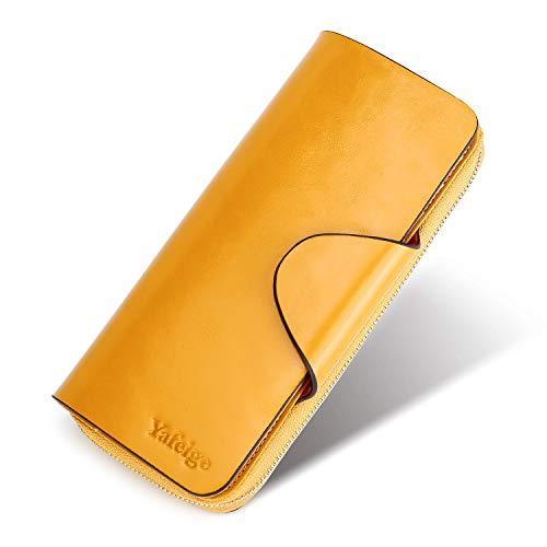Yafeige Large Luxury Women's RFID Blocking Tri-fold Leather Wallet Zipper Ladies Clutch Purse(Waxed Yellow)