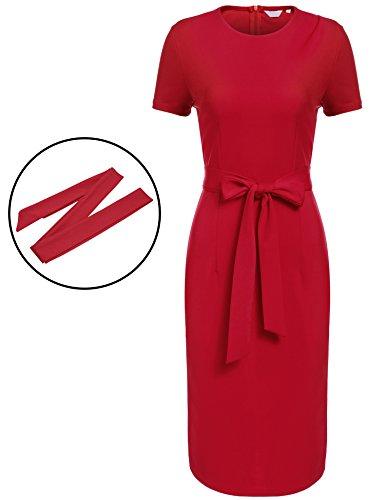 SE MIU Women Official Round Neck Retro Business Bodycon Pencil Dress, Red, - Miu Miu Official