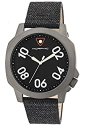 Morphic Men's 'M41 Series Canvas with Backing Strap' Quartz Stainless Steel and Leather Watch, Color:Black (Model: MPH4101)