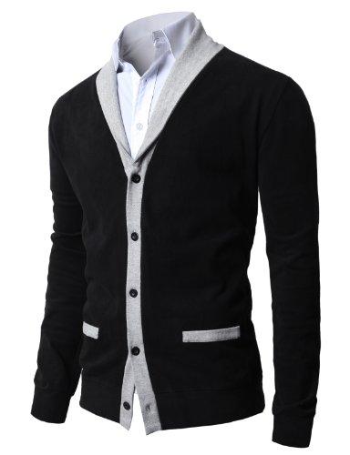 H2H Mens Long Sleeve Colorblocked Fleece Zip-Up Jacket Cardigans BLACK US L/Asia XL (JNSK04)