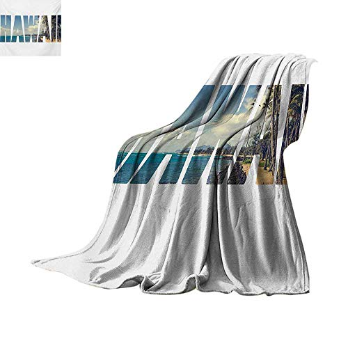 (Hawaiian Weave Pattern Blanket Word Hawaii with Tropical Island Photo Exotic Popular Places Palm Forest by Ocean Summer Quilt Comforter 50