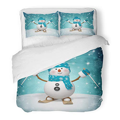 Emvency Decor Duvet Cover Set King Size Blue Cartoon 3D Skiing Snowman Christmas Cute Merry 3 Piece Brushed Microfiber Fabric Print Bedding Set Cover -