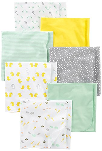 Simple Joys by Carter's Baby Unisex 7-Pack Flannel Receiving Blankets, Grey/White/Mint, One Size