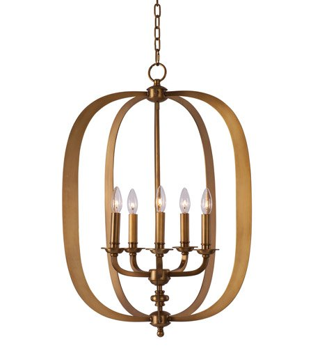 Maxim 22373NAB Fairmont 5-Light Pendant, Natural Aged Brass Finish, Glass, CA Incandescent Bulb, 11W Max, Wet Safety Rating, 3000K Color Temp, Acrylic Shade Material, 1540 Rated Lumens
