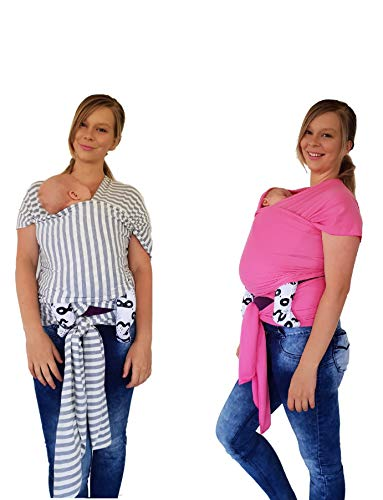 Baby Sling Wrap 5 Colors, (Black White) Comfy Stretchy Infant Newborn & Toddler Sling Carrier Mesh is Breathable Lightweight Striped, Use as Nursing Cover, Postpartum Belt, Swaddle & for Breas