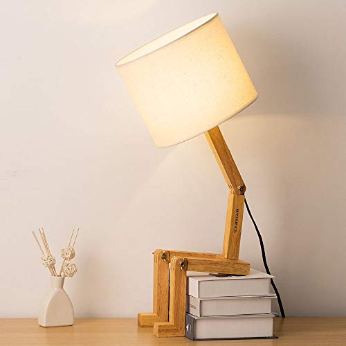 HAITRAL Creative Desk Lamp - Cute Wooden Table Lamp with Wooden Base Unique Table Lamps for Living Room, Bedroom, Office, Kids Room, Reading Room