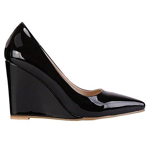 Käyttöön Kengät Naisten Mustan Teräväkärkiset Päivittäiseen Patentti Merumote Wedge Pumput Toe Selin Korkeat FnR0zw