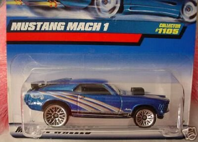 Hot Wheels 1999 1:64 Scale Blue 1970 Ford Mustang Mach 1 Diecast Car Collector #1105 - Ford Mach 1