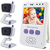 Moonybaby Handheld Compact Video Baby Monitor, EasyCarry, 2 Cameras Pack, Pocket-Sized Full Color Screen, AUTO Night Vision, Talk Back, Zoom-in, Long Range and Big Battery