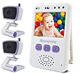 Baby Monitors with 2 Cameras by Moonybaby, Long Battery Life, Long Range, Non-WiFi