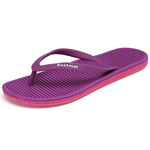 Feetmat Womens Flip-flops Sandaler Lette Thong Sandaler Strand Flate Tøfler  Lilla / Rosa
