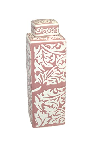 Sagebrook Home AC10293-03 Ceramic Lidded Jar, Pink Ceramic, 4 x 4 x 12.5 Inches