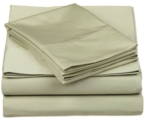 530 Thread Count, Combed Cotton, Single Ply, Twin XL 3-Piece Sheet Set, Solid, Sage