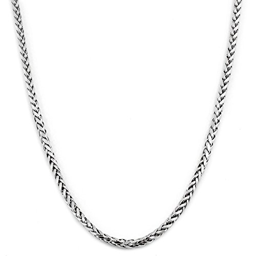 Wheat Chain Platinum Solid - LOVEBLING 10K White Gold 2.5mm 18