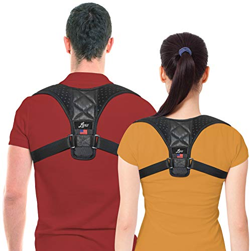 Luxo Posture Corrector for Men and Women - USA Designed Upper Back Brace for Clavicle Support and Providing Pain Relief from Neck