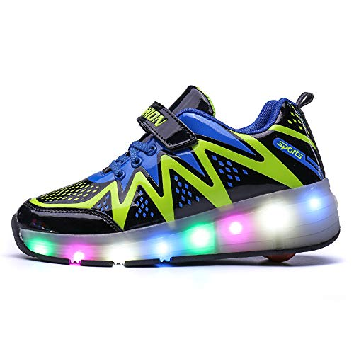 Price comparison product image Boys Girls LED Light up Roller Skate Single Wheel/Double wheels Shoes Flashing Sneakers(Single-Green-38/5.5 M US Big Kid)