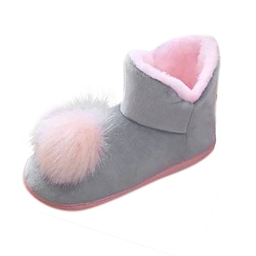 Snow Women Warm Gray Boots Ball Soft Amiley Fur Winter Ankle Bootie Slippers Outdoor 4dUwznZq