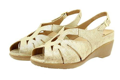 Calzado mujer confort de piel Piesanto 1152 Sandalia Plantilla Extraíble cómodo ancho Duna