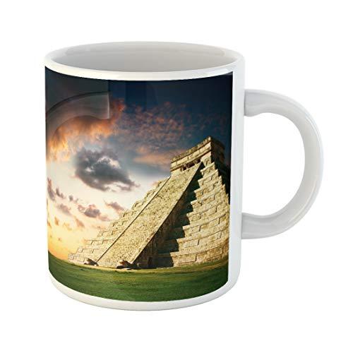Emvency Funny Coffee Mug Wonder Chichen Itza Mayan Pyramid World Mexico 11 Oz Ceramic Coffee Mug Tea Cup Best Gift Or Souvenir (Best Chichen Itza Tour)