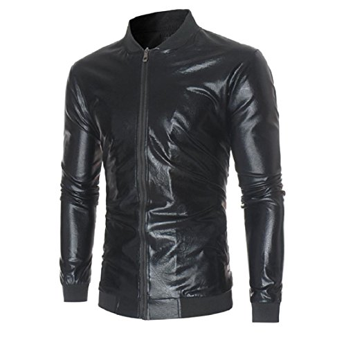 Full Zip Shiny Classic Coats Men Collar Jackets Stand Splice Black aicessess Outdoor gYxq01x
