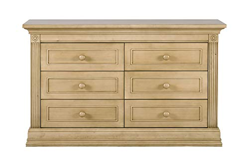"Montana Collection Natural Hardwood 6 Drawer Dresser | Lasting Quality & Design | Kiln-dried & Hand-Crafted Construction | 56"" x 18.5"" x 34"", Driftwood"