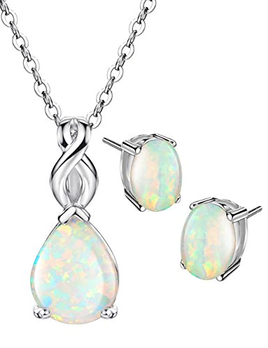 Opal Jewelry Set Sterling Silver Pendant Necklace Stud Earrings October Birthstone Gemstone Fine Jewelry for Women (Opal Birthstone Jewelry)