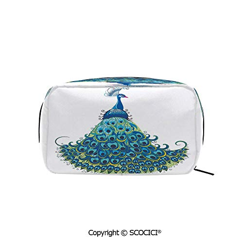 Rectangle Organizer Toiletry Makeup Bags Pouch Peacock Illustration Floral Classical Curvy Artful Design Tropics Wildlife Theme Decorative Portable Makeup Brushes -